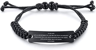 Stainless Steel Handmade Black Adjustable Cord Inspirational Courage Quote to My Son Bracelets to Boys,Birthday Graduation Gift