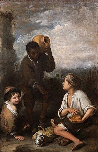 Três Garotos Garoto pede um Pedaço de Torta Crianças Pintura de Bartolomé Esteban Murillo na Tela em Vários Tamanhos (83 cm X 54 cm tamanho da imagem)