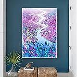 Living Equipment Oil Painting Purple Flower In River Oil Paintings On Canvas Wall Art Modern 100% Hand Painted Artwork Decor For Living Room Corridor Hotel Office Resturant,50 times 75Cm Framele