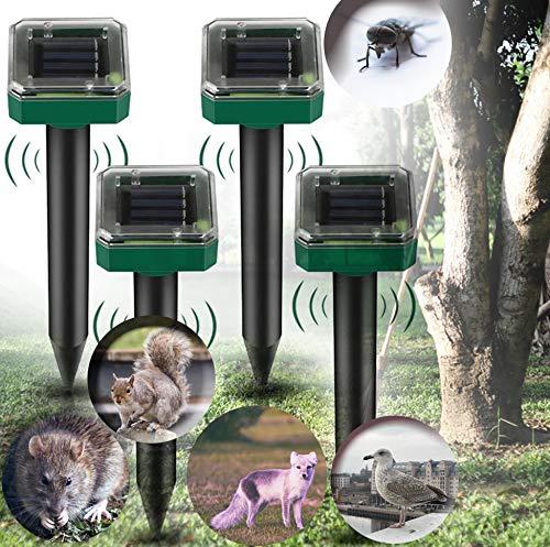 Sylanda Tierabwehr Ultraschall Solar, 4 Stück Solar Maulwurfabwehr, Solar Ultrasonic Tiervertreiber Maulwurfschreck für Maus, Moskito, Kakerlaken, Pest usw