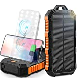 Wireless Solar Charger 30000mAh, Qi Portable Power Bank wirh Dual Wireless Coil&Adjustable Phone Holder, 4 USB Outputs&30LED Flashlights, Dual Inputs Huge Capacity Solar Power Bank for iPhone, Android