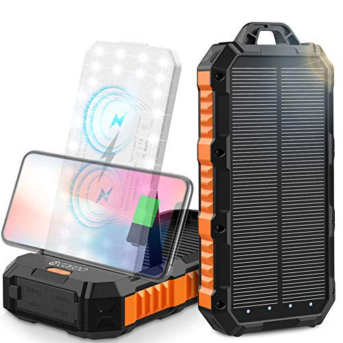 Solar Charger 30000mAh, Solar Power Bank, Qi Portable Phone Charger with Dual Wireless Coil&Adjustable Phone Holder, 4 USB Outputs&30 LED Flashlights, Dual Inputs Huge Capacity Solar Power Bank