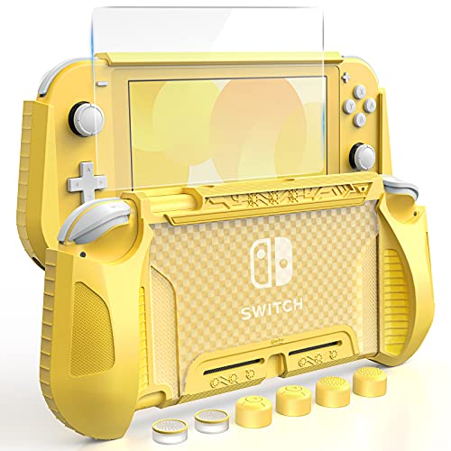 HEYSTOP Case Compatible with Nintendo Switch Lite, with Tempered Glass Screen Protector and 6 Thumb Grip, TPU Protective Cover for Switch Lite with Anti-Scratch/Anti-Dust (Yellow)