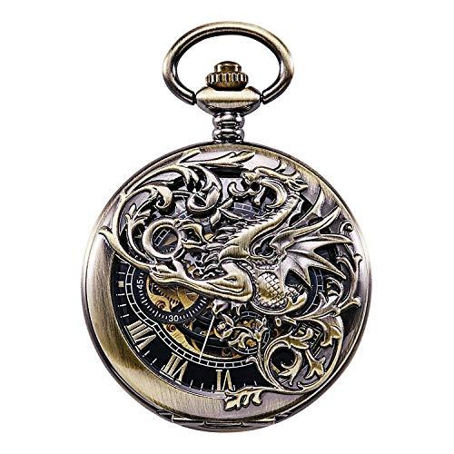 『TREEWETO 機械式 手巻き 懐中時計 両面蓋 龍透かし ローマ数字 ブロンズ スケルトン チェーン 付き』の1枚目の画像