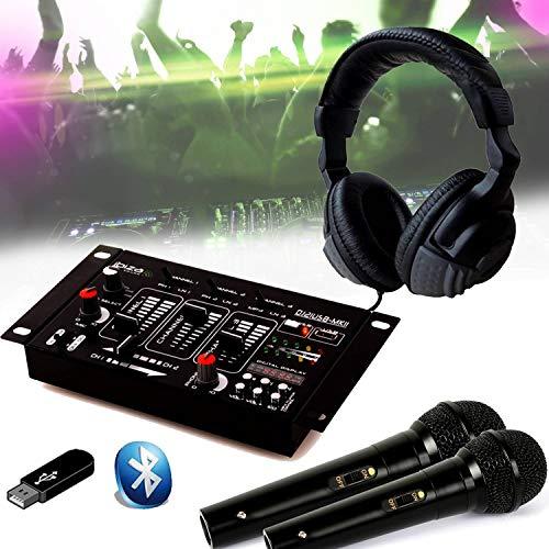 DJ21 Mischpult, USB, Bluetooth, Kopfhörer DJ, 2 Mikrofone