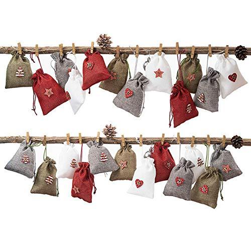 WOOKIT Wiederverwendbare Weihnachtsgeschenkbeutel Kalender Taschen DIY Weihnachts-Adventskalender Advents Beutel mit Kordelzug-B