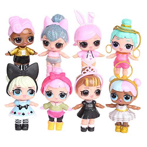 LOL Surprise Cake Toppers 8Pcs LOL Doll Figure Personaggi Figure LOL Decorazione della torta Fatta a Mano Bambola Compleanno Decorazione per Bambini