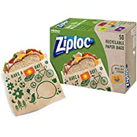 50-Count Ziploc Paper Recyclable and Sealable Sandwich Bags