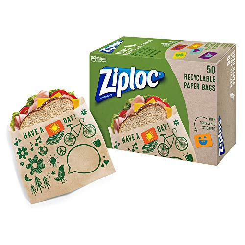 Ziploc Paper Sandwich Bags with Resealable Stickers 50-Count Now $3.89