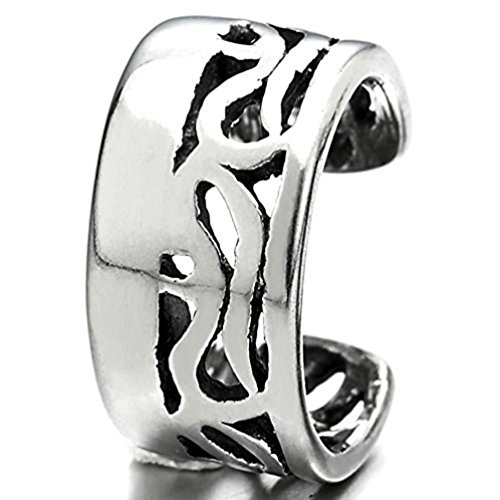 Vintage Celtic Swirl Stainless Steel Non Piercing Ear Cuff One Piece (# Style 1)