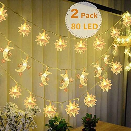 Mixtooltoys Batteriebetriebene Sterne Lichterketten + Mond Lichterketten Dekorative Beleuchtung 2er Pack 10M 80 LED Warmweiß für Festival Party Hochzeit Schlafzimmer Weihnachten