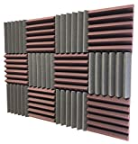 Soundproof Store 4492 Acoustic Wedge Soundproofing Studio Foam Tiles, 2 X 12 X 12-Inch, Pack of 12 (Charcoal Black and Burgundy Maroon)