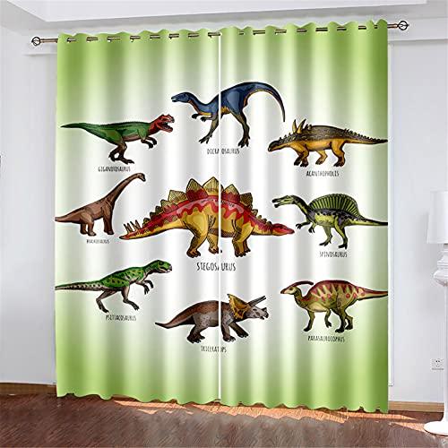 FACWAWF Cortina De Patrón De Dinosaurio 3D, Dormitorio, Sala De Estar, Hotel, Apartamento, Cortina De Poliéster W132xH160cm(2pcs)