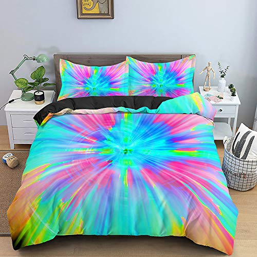 Abstract Art Duvet Cover 3D Color Vortex Colorful Green Luxury Quilt Cover Home Textiles Bedding Set Single Double Queen King Size Soft Set for Girl Boy Teens Adult,Twin