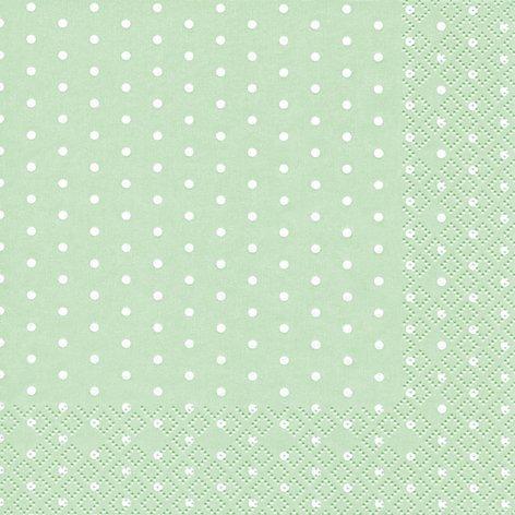 20 Servietten weiße Mini-Punkte auf pastellgrün / gepunktet / Muster / zeitlos 33x33cm