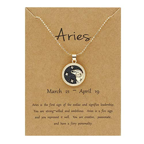 ACWERT 12 Constellation Necklace Day&Night Sweater Chain Couple Necklace Horoscope Zodiac Pendant for Women&Girls,Women's Round Coin Necknace Idea Valentine's Day Gift for Girlfriend Mother (Aries)