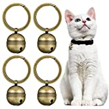 Batiyeer 4 Strings in 4 Pieces Dog Collar Bell Brass Bells for Collar Dog Charm Bells Pet Pendant with Key Rings for Collars Necklace Saving Birds and Wildlife (Bronze)
