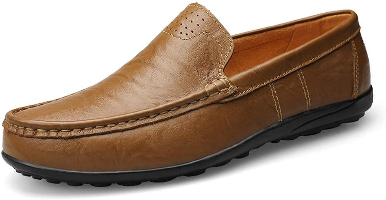 Men's Leather Loafers Wedding shoes Breathable Non-Slip Flat Round Headgear shoes (color   Khaki, Size   8 D(M) US)
