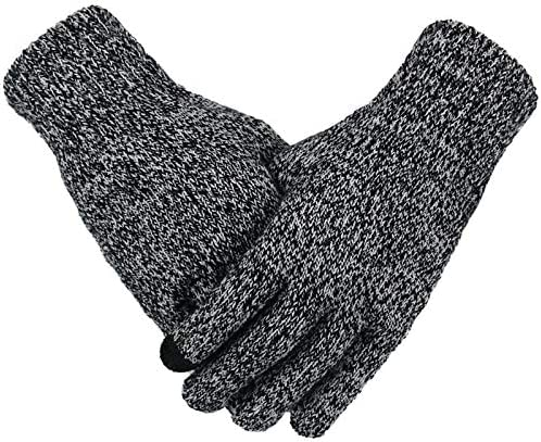 XIAOQIU Gloves Men's Knitted Warm Gloves Winter Autumn Male Touch Screen Gloves Plus Thin Solid Warm Mittens Business Mittens (Color : Black White, Gloves Size : Free Size)