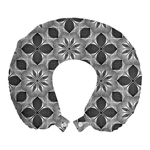 ABAKUHAUS Conducción Cojín de Viaje para Soporte de Cuello, Tramado geométrico Floral, de Espuma con Memoria Respirable y Cómoda, 30x30 cm, del Gris y Blanca