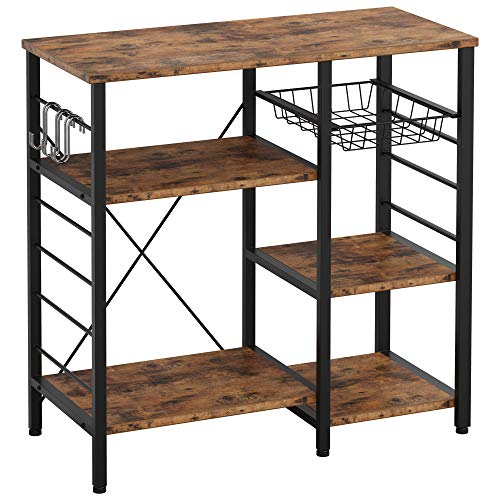 IRONCK Industrial Kitchen Baker's Rack, Kitchen Island Utility Storage Shelf, Coffee Bar Microwave Stand with 6 Hooks, Metal Frame, Simple Assembly, Vintage Brown
