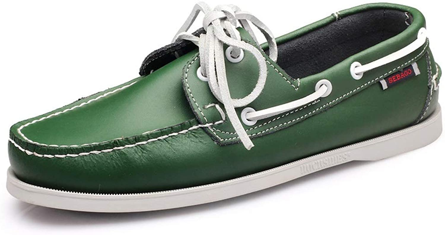 Hand Made Genuine Leather Deck shoes for Men Soft Sole Non Slip Daily Driving shoes (color   Green, Size   CA 8.5)