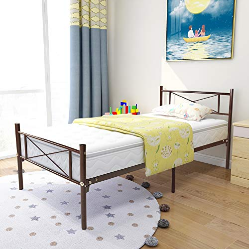 HOJINLINERO Metal Platform Bed Frame/Mattress Foundation with Vintage HeadBoard & Footboard, Easy Assembly, Twin, Brown