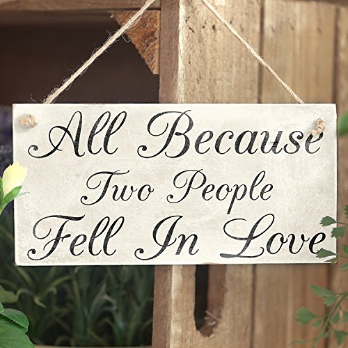 """Meijiafei All Because Two People Fell in Love PVC Sign Wedding 10""""x5"""""""