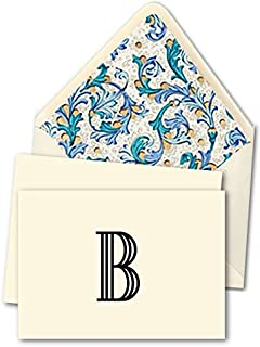"""K DESIGNS - HAND MADE STATIONERY - FOLD OVER NOTE CARDS & DESIGNER ENVELOPES (Lined By Hand With Elegant Hand Made Specialty Paper) – Single Letter Monogram Fold Over Note Cards [Posh Design: Letter """"B""""] - Crafted By Hand, This Lovely Personalized Stationery Set Includes 10 Fold Over Note Cards Beautifully Finished With The Indicated Letter And 10 Designer Envelopes – Envelopes Have Been Carefully Lined By Hand With Elegant Hand Made Specialty Paper With A Blue Florentine Design/Patt"""