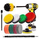 ZILJJ 21 Piece Drill Brush Power Scrubber Cleaning Brush Extended Long Attachment Set All Purpose Drill Brush Attachments for Cleaning Bathroom ,Shower, Grout, Floor, Tub, Tile, Car Detailing, Carpet