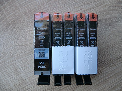 5 Original Canon Setup-Druckerpatronen PGI550 CLI551 (Black/Cyan/Yellow/Magenta) Für Den Canon Pixma IP 7250 IP7250 MX925 MX 925 Tintenpatronen