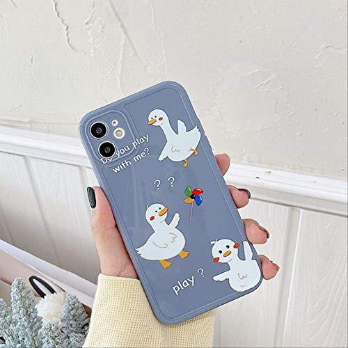 Divertida Funda teléfono con diseño Pato Animal para iPhone 11 12 Mini Pro X XR XS MAX 7 8 Plus SE 2020 Funda TPU Suave con protección Brillante para iPhone 11Pro MAX 331