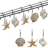 S SMAUTOP Cortinas De Ducha Seashell Anillos, 12 Ganchos Anillos De Acero...