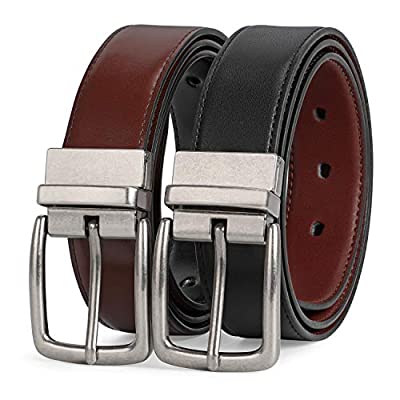 Reversible Leather Belt Casual Dress Belt with Rotated Buckle and Double Sided Strap, Fashion Jeans Belt for Men with Gift Packed