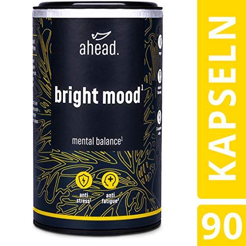 ahead BRIGHT MOOD | Natürlicher Booster* mit Vitamin B6 für Stimmung, Wohlbefinden und Nervensystem* | L-Tryptophan, 5-HTP, Reishi, B12 | | 90 vegane Kapseln