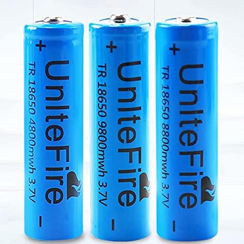 3 pcs 18650 Batería Recargable 3.7 9800 MAH Azul Litio BateríA Recargable De Iones De Litio 3.7v Pilas Recargables 18650 Alto Rendimiento BotóN De La BateríA Superior para Linterna 18650,18X65mm