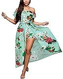 BIUBIU Women's Off Shoulder Floral Rayon Party Maxi Split Romper Dress Light Green XL