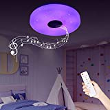 IYUNXI Starlight LED Ceiling Light with Bluetooth Speaker,36W 12 Inches Dimmable Color Temperature Changing Remote Control 110V Music Bluetooth Ceiling Light Fixture with Note Pattern for Bedroom