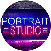 Portrait Studio Dual Color LED看板 ネオンプレート サイン 標識 赤色 + 青色 300 x 210mm st6s32-i3554-rb