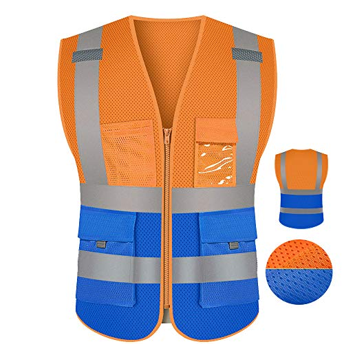 Two Tone Orange Blue Safety Vest Mesh For Men With Pockets And Zipper Work Vest(XL, Orange Blue)