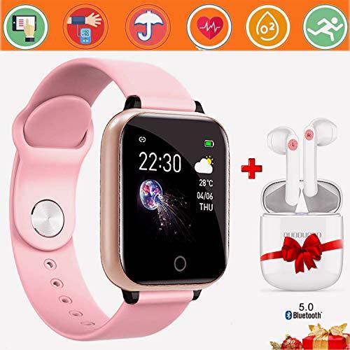 Smartwatch per Donna Uomo Impermeabile IP67 Sports Smartwatch Offerta Del Giorno+Cuffie Bluetooth Sports Fitness Tracker attività con Cardiofrequenzimetro Pedometro per Android iOS (Rosa)