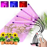 Vitog Grow Lights for Indoor Plants with RF Remote Control Four Head Adjustable Gooseneck Plant Grow Light with10 Dimmable Levels, Full Spectrum LED Grow Lamps, 2H 8H 12H Timing Function
