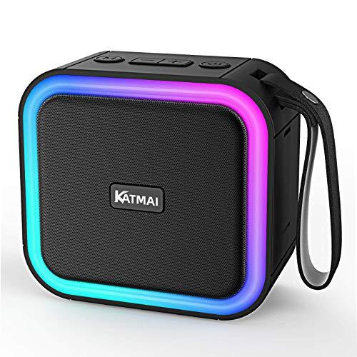 Wireless Bluetooth Lautsprecher,KATMAI IPX7 tragbarer Lautsprecher mit lichteffekt, 5.0 TWS Lautsprecher mit Freisprechfunktion,Bis zu 13h Wiedergabezeit mit nur Einer Akkuladung