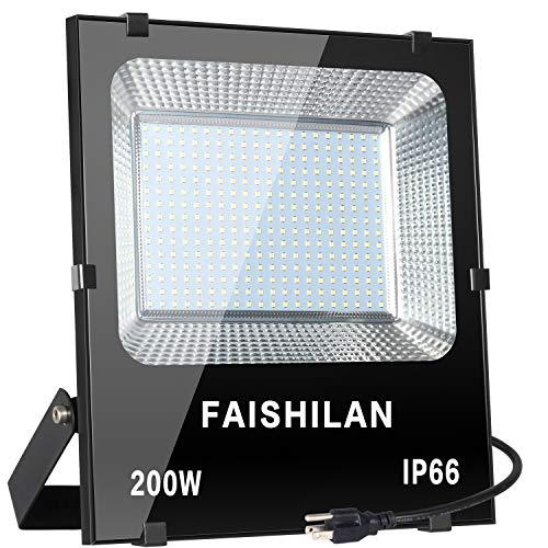 FAISHILAN 200W Led Flood Light, 1000W Halogen Equiv Outdoor Work Lights, IP66 Waterproof with US-3 Plug in Led Security Light