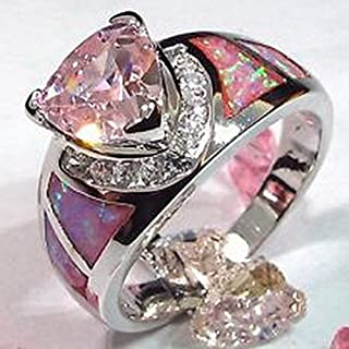 jacob alex ring Pink Sapphire & Fire Opal Engagement Wedding Ring 925 Sterling Silver Jewelry Size6