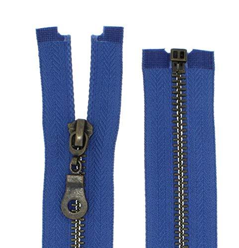Cremallera de metal 5bruñido medio divisible para chaquetas., 9 - jeansblau(218), 65 cm