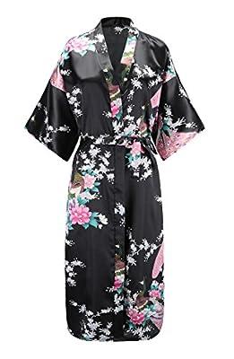 EPLAZA Women Peacock Satin Long Bridal Kimono Robe Bridesmaid Sleepwear Wedding Dressing Gown