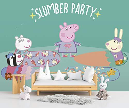 Fotomural Vinilo de Pared Peppa Pig Fiesta Pijama Producto Oficial | 150x100cm | Fotomural para Paredes | Producto Original | Vinilo Adhesivo | Mural | Decoración Hogar |