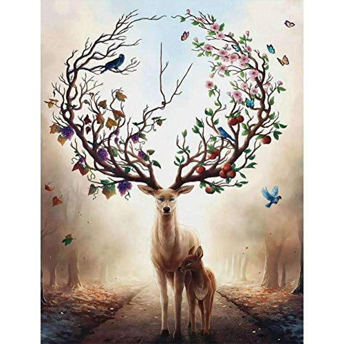 DIY 5D Diamond Painting Kits Full Drill Deer Pictures Rhinestone Crystal Canvas Cross Stitch Adults/Kids Embroidery Art Craft for Home Bedroom Wall Decor Gift 30x40cm