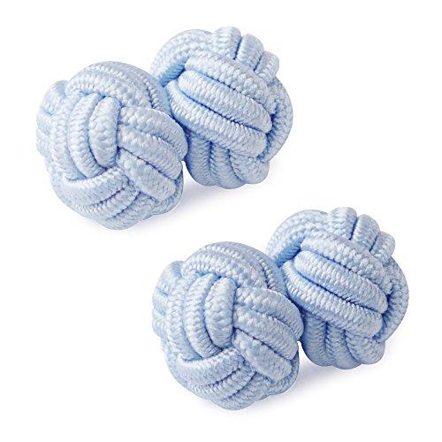 HONEY BEAR 1 Paar Herren/Damen Seide Stoff Knoten Seidenknoten Manschettenknöpfe für Hemd/Kleid zum (Hellblau)